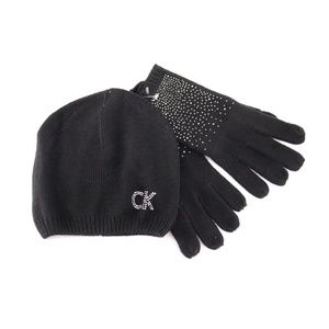 Calvin Klein Studed Ombre Hat and Gloves Set